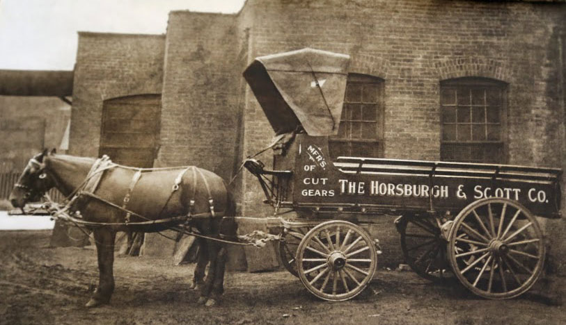 A horse drawn carriage near the Horsburgh & Scott manufacturing facility in the late 1800s.