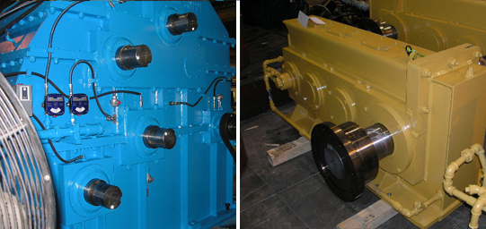 A split image of a blue, industrial gearbox and a yellow, heavy-duty gearbox used for wind energy applications.