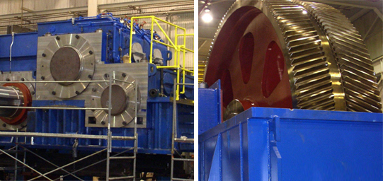 A split image of two large, blue-colored, industrial gearboxes