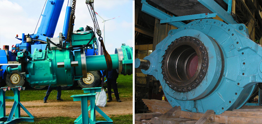 A split image of a large, industrial gearbox and heavy-duty gearing used for wind energy applications.