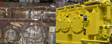 A split image of a rust-colored, broken BOF gear drive and a yellow-colored, repaired BOF gear drive.