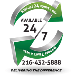 Horsburgh & Scott's 24 hours a day, 7 days a week support logo.