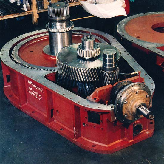 A red-colored gearbox for sugar processing applications.