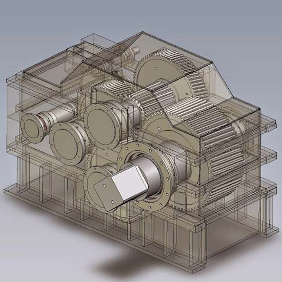 An illustration of a gearbox for sugar processing applications.
