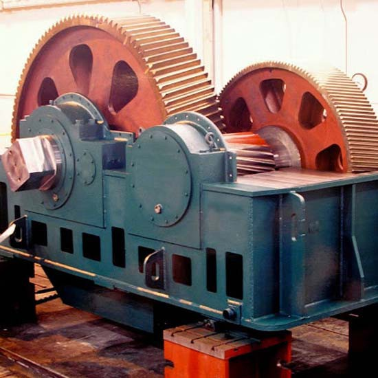 An large, open sugar mill gearbox.