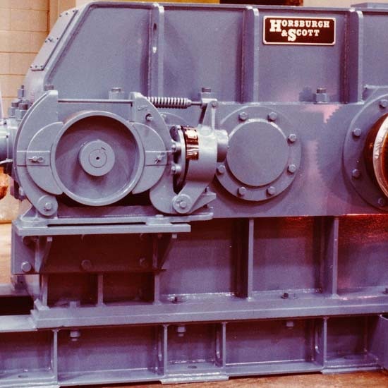 A blue-colored Horsburgh & Scott gearbox.