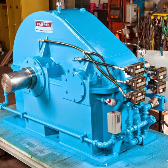 A blue Farrel gearbox.