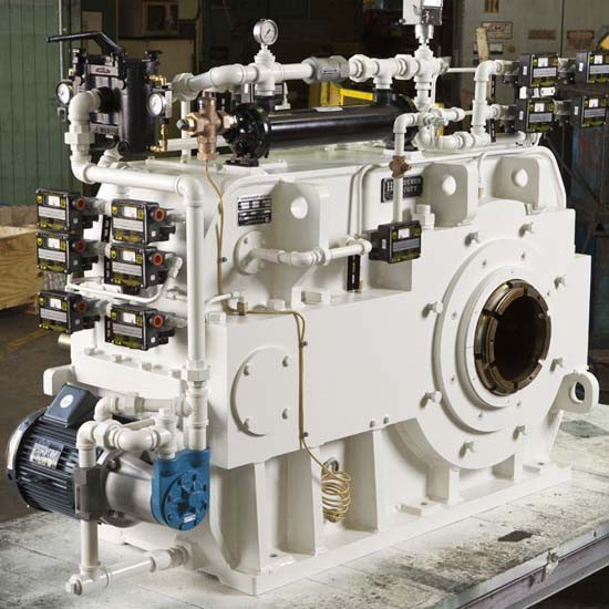 A white-colored gearbox.