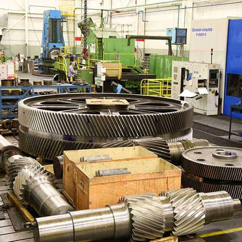 Large industrial gearing and pinions in the Horsburgh & Scott manufacturing facility in Cleveland, Ohio.