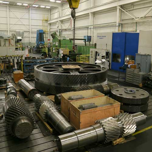 Large industrial gearing and pinions in the Horsburgh & Scott manufacturing facility in Cleveland, Ohio