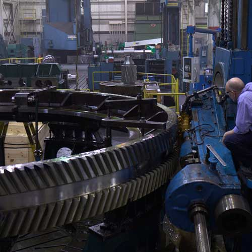Horsburgh & Scott's large gear cutting equipment in their manufacturing facility in Cleveland, OH.